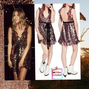 $198 NEW Free People Bronze Metallic Sequin Dress